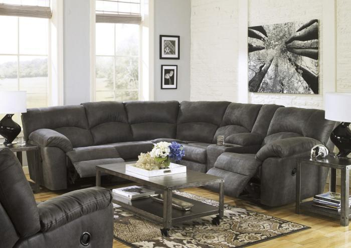 LR4 Contemporary Grey 2-Piece Reclining Sectional,Taft Furniture Showcase
