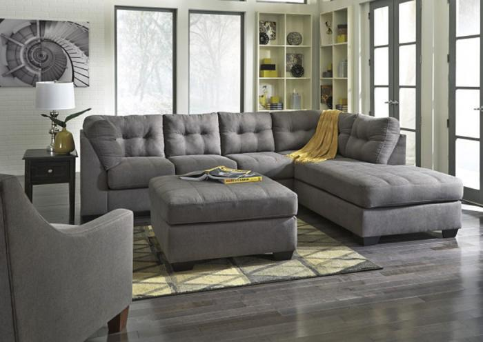 LR71 Charcoal Tufted 2-Piece Sectional,Taft Furniture Showcase