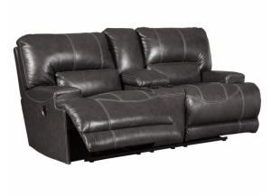 Catskill Gray Leather Power Reclining Loveseat