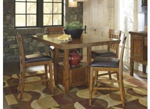 DR23 Rustic Charm Counter Table & 4 Stools