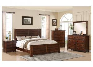 MB41 Rustic Queen Panel Bed, Dresser, Mirror & Nightstand