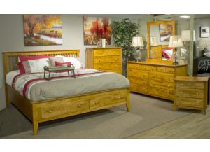 Casual Caramel Queen Storage Bed, Dresser, Mirror & Chest