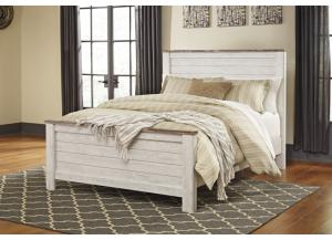 MB107 2-Tone White Queen Panel Bed