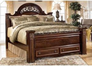 MB24 Old World Dark King Poster Bed