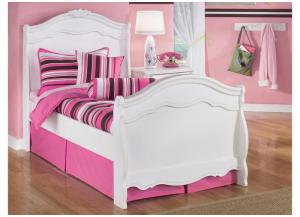 YB1 Chrystal White Twin Sleigh Bed