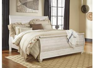MB107 2-Tone Whitewash King Sleigh Bed