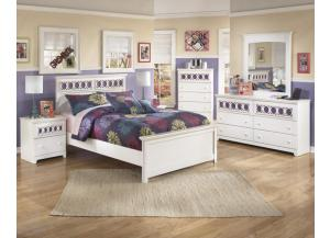 YB11 Colors and White Full Panel Bed, Dresser, Mirror & Nightstand