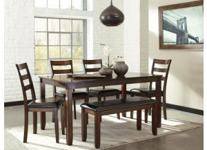 DR98 Rustic Brown Dining Table, Bench & 4 Chairs