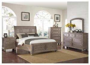 MB74 Pewter Vintage King Storage Bed, Dresser & Mirror
