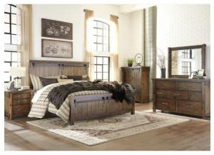 MB136 Rustic Brown King Panel Bed, Dresser & Mirror