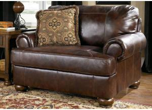 LR1 Walnut Full Leather Chair-and-a-Half