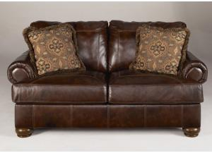 LR1 Walnut Full Leather Loveseat