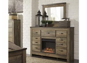 MB60 Vintage Brown Dresser & Mirror with LED Fireplace
