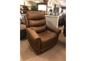 Chocolate Lift Recliner w/ Adjustable Headrest and Lumbar