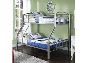 Twin/Full Pewter Bunk Bed