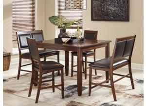 DR99 Warm Brown Pub Table, 2 Counter Stools & 2 Double Stools
