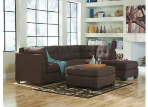 LR71 Walnut Tufted 2-Piece Sectional