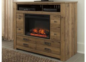 MB67 Vintage Light Brown Media Chest  with Fireplace Insert