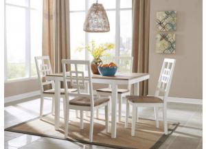 DR79 2-Tone White Dining Table & 4 Chairs