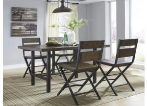 DR63 Brown & Metal Pub Table & 4 Stools