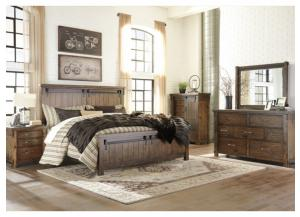 MB136 Rustic Queen Panel Bed, Dresser, Mirror & Chest