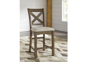 DR103 Nutmeg Finish Upholstered Counter Stool:Set of 2