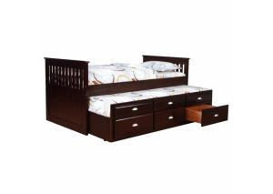 Espresso Twin Captains Bed w/ Trundle