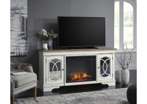 HE72 2-Tone White TV Stand w/ LED Fireplace