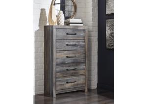 MB203 Brown & Multi 5-Drawer Chest