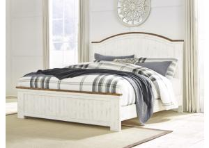 MB207 White & Brown King Panel Bed