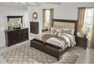 MB211 Dark Walnut Queen Storage Bed, Dresser & Mirror