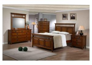MB35 Mission Oak Queen Panel Bed, Dresser & Mirror