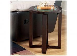 Dark Brown Finish Round End Table