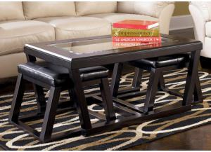 Espresso Finish Rectangular Cocktail Table & 2 Ottomans