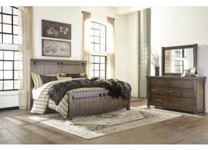 MB136 Rustic Queen Panel Bed, Dresser & Mirror