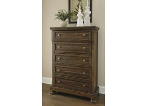 MB153 Burnished Brown 5-Drawer Chest