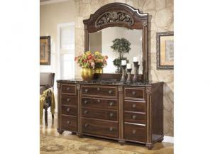 MB24 Old World Dark Dresser & Mirror