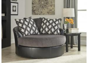 Diamond Smoke Oversize Swivel Accent Chair