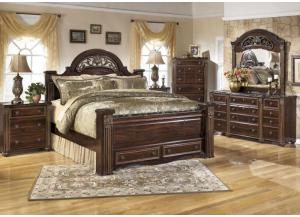 MB24 Old World Dark King Poster Bed, Dresser, Mirror & Nightstand