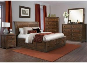 MB41 Rustic Queen Storage Bed, Dresser, Mirror & Nightstand