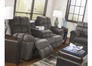 LR14 Grey Reclining Sofa With Dropdown Table