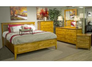Casual Caramel Queen Storage Bed, Dresser & Mirror
