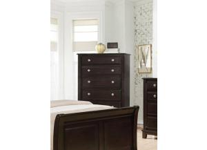 MB170 Espresso Transitional 5-Drawer Chest