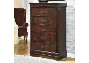 MB13 Louis Brown Cherry 5-Drawer Chest