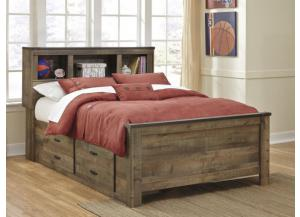 YB13 Vintage Brown Full Bookcase Storage Bed