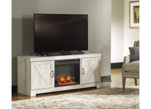 Whitewash TV Stand w/ LED Fireplace