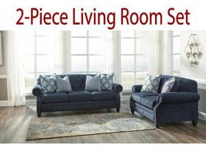 2-Piece Living Room Set: Drysdale Navy Sofa and Loveseat