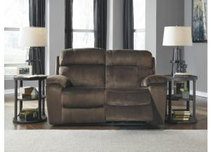 Chocolate Power Reclining Loveseat with Adjustable Headrest