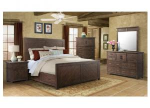 MB128 Rustic Queen Storage Bed, Dresser, Mirror & Nightstand
