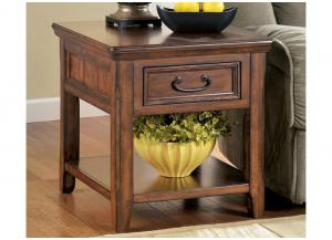 Dark Brown Finish Rectangular End Table